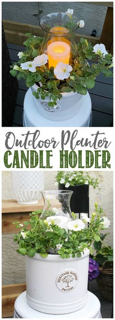 This DIY outdoor planter candle holder adds a pretty touch and a night-time glow to your summer patio or porch. Easy for anyone to make! Diy Planters Outdoor, Outdoor Gardens, Outdoor Candle Holders, Diy Projects For Beginners, Diy Hanging, Seasonal Decor, Night Time, Easy Diy, Candles