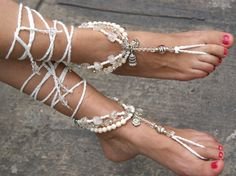 Crochet Barefoot Sandals - beach jewelry,  Bohemian, Yoga, Bellydance, Beach sandals, outdoor wedding, hippie shoes on Etsy, $19.00