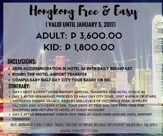 HONG KONG FREE & EASY PACKAGE Adult Rate: P 3,600.00 Kid Rate: P 1,800.00 Valid until January 5,2017  Inclusions: -3D2N accommodation in Hotel 36 w/ daily Breakfast -Round Trip Hotel Airport Transfer -Compulsory Half Day City Tour based on SIC   Note:  -Minimum of 2 Adults Must travel together. -No Airfare Included. -Ph Passport Holder Only. -Terms & Conditions Apply.  #hongkong #hongkongtour #hongkongfreeandeasy #promohongkongpackage #asianpackage2016 #travbest #hotel36…