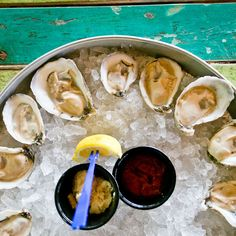 Heroes in a half-shell. How do you like your oysters? Red Fish Blue Fish, White Sand Beach, Outdoor Dining, Fresh Rolls, Oysters, The Good Place, Good Food, Shell, Ethnic Recipes