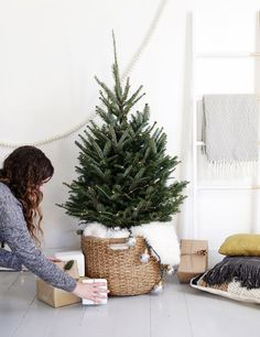 Replace a full-sized tree with a smaller tabletop-sized tree, styled simply with lights. | 15 Borderline Genius Christmas Decorating Ideas For Your Tiny Space