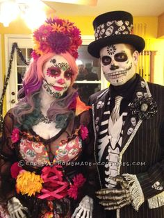 Amazing Day of the Dead Couple Costume... Coolest Halloween Costume Contest