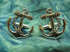 Nautical Anchor Cufflinks Steampunk Mens Accessory Wedding Groomsmen. $15.00, via Etsy.
