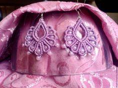 """Купить Серьги """"Розовый жемчуг"""" - брусничный, серьги ручной работы, серьги плетеные, розовые серьги"""