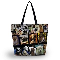 Dogs Women Shopping Tote Beach Shoulder Carry Hobo Bag Travel Handbag Washable in Clothing, Shoes & Accessories, Women's Bags & Handbags Travel Handbags, Tote Handbags, Folding Shopping Bags, Zipper Bags, Zipper Pouch, Beach Tote Bags, Shoulder Handbags, Shoulder Bags, Hobo Bag