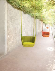 Who doesn't love a swing?  Whether it's at the playground or strung up on a neighbourhood tree, I just can't resist  these are particularly fun in these colours. Adagio Outdoor Swing by Francesco Rota