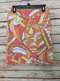 Talbots A-Line skirt womens size 4 orange multi cotton stretch above knee casual #Talbots #ALine