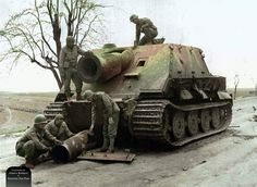Sturmtiger: The most compelling feature of the Sturmtiger was its 380mm Raketen-Werfer 61 L/5.4 breech-loading rocket launcher. Each of the projectiles were 1.5m long and weighed 376 kg - battleship size. Only 14 rounds could be carried, including the one already loaded in the chamber, ready to fire, and another laying on the loading tray.