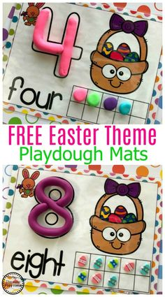 FREE Preschool Playdough Mats for Easter #playdoughmats #preschool #counting #preschoolcounting #preschoolworksheets #preschoolmath