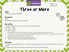 FREE weekly downloads of Math Games! Three or More!