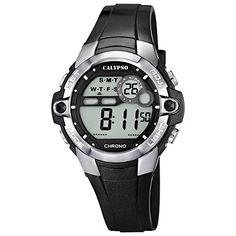 Calypso Armbanduhr Damenuhr Kinderuhr Digital Chrono-Alarm Uhr 10 ATM K5617, Farbe:schw./silber - http://autowerkzeugekaufen.de/calypso-watches-8/calypso-armbanduhr-damenuhr-kinderuhr-digital
