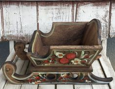 Wooden Sleigh vintage handmade Santa Sleigh with flowers