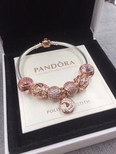 Pandora rose gold charm bracelet #GoldJewelrybraceletfashion