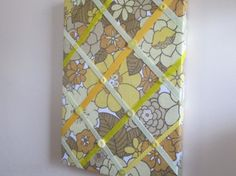 Upcycled Vintage Fabric Notice Board Retro Eames Floral Ribbon Button Yellow, New Other Home Decor For Sale in Portarlington, Laois, Ireland for euros on Adverts.