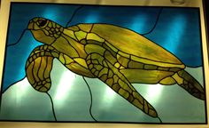 Sea Turtle Stained Glass Panel  One of a by ChaosTheoryGlassWork, $600.00