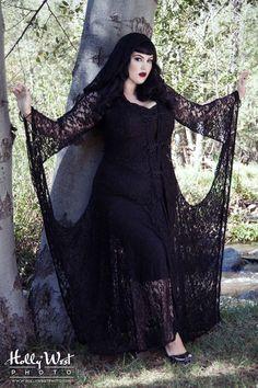 Wassa French Gypsy Lace Dress in Black - Plus Size