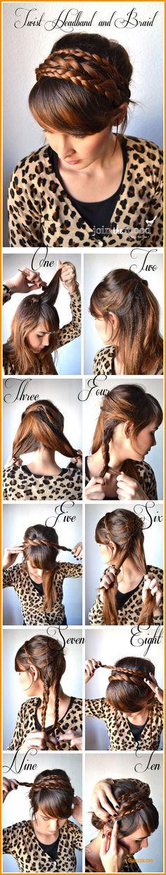 Twist Headband And Braid Hairstyle
