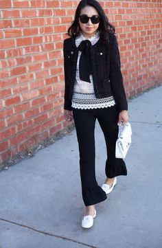 Black and white Coco Chanel inspired work style.