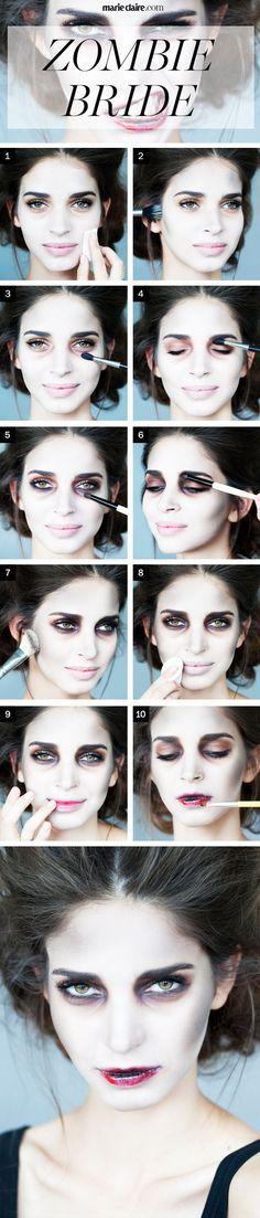 Un photo-tuto pour un maquillage d'Halloween en mariée zombie !:
