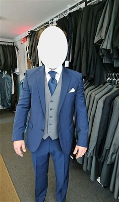 Absolutely love this simple mix of the slim fit blue jacket and trousers but…