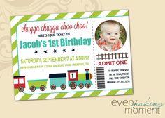 Train Birthday Party Invitation -- Boy Birthday Invitation -- custom, digital, personalized, printable birthday invite on Etsy, $13.00