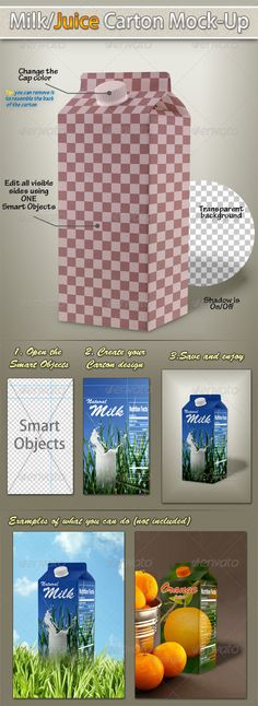 Milk/Juice Carton Mockup  #GraphicRiver        Milk/Juice Carton MockupThis mock-up helps you to show your milk or juice carton designs in an amazing, realistic and professional views with just simple clicks.Features:  Fully editable, Well organized layered photoshop file  Edit all the visible sides using only one Smart Objects. High Resolution 300dpi  Mockup is in RGB Color  Dimensions: 1155px x 1732px  Transparent background  The photos used in the preview are not included and can be…