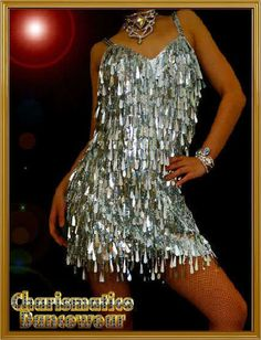 Silver DRAG DIVA LATIN SALSA VEGAS SHOWGIRL DANCE DRESS #Charismatico