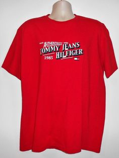 TOMMY HILFIGER 1985 GRAPHIC RED SHORT SLEEVE COTTON TEE T-SHIRT MEN SIZE LARGE #TommyHilfiger #GraphicTee