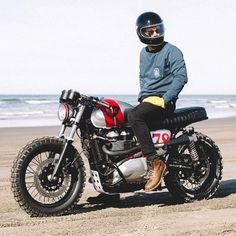 @aussiedix on @british_customs Triumph Re/Deux in Astoria, OR. Photo by @thedeuk. Such a sweet build!  #trackertuesday #croig #caferacersofinstagram