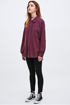 BDG Washed Oversized Shirt in Burgundy