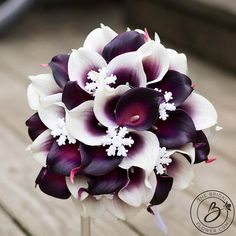 """""""Snowflake Bliss"""" real touch calla lilies bouquet in plum and Picasso purple with snowflakes Dark purple stands out beautifully against white snowflakes. This classy round wedding bouquet is made with an abundance of the signature wedding flower – calla lily – and mixed with snowflakes for the perfect winter bouquet! Dual tone purple calla lilies with white edges give the bouquet depth, elegance, and match the snowflakes and the handle for a perfect color balance. Such a stylish bouquet for…"""