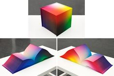 RGB Color space atlas by Tauba Auerbach. Think RGB photoshop color picker in book form. Every color. Like woah. Moma, Co Design, Graphic Design, Graphic Art, Cubes, Tauba Auerbach, Rgb Color Space, This Is A Book, American Artists
