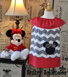 Gray and White Chevron Minnie Mouse Ruffled Neck by sultrysplendor, $29.99