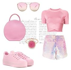 """""""All about pink❤"""" by savvinabitz on Polyvore featuring Manish Arora, T By Alexander Wang, Kenzo, Mansur Gavriel, Quay and Liberty"""