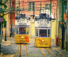 Gloria Funicular Lisbon II - Joan Carroll   #lisbon #portugal #funicular #tram #train #cablecar #yellow