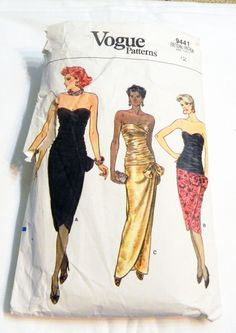 """1980s Strapless Evening Gown Cocktail dress gathered ruched bodice sewing pattern Vogue 9441 Size 12 Bust 34"""" by retroactivefuture on Etsy"""