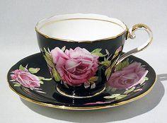 Vintage AYNSLEY PINK CABBAGE ROSE Cup & Saucer Set on BLACK BACKGROUND - MINT