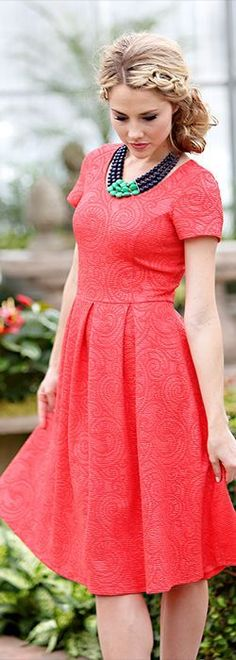 Lots of gorgeous Modest Summer Dresses found here! Love the Eve Dress in bold textured Coral Red! Modest Dresses/ Modest Clothes/ Modest Clothes For Teens