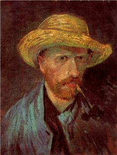 Self-Portrait with Straw Hat and Pipe - Vincent van Gogh