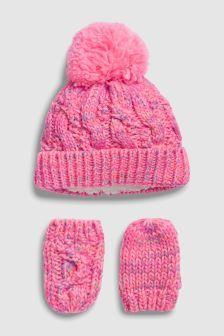 Rosa brillante - Conjunto de gorro y guantes (Niño pequeño) (506933)  9b3f180eca2