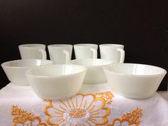 Anchor Hocking  Fire King  White  Cereal Soup Bowls  D by nddevens, $13.00