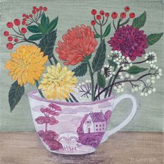 """Debbie George's still life paintings emanate domestic space within a natural setting, """"Lustre Cup and Dahlias"""" can be viewed at Byard Art, Cambridge. Children's Book Illustration, Illustrations, Flower Art, Art Flowers, Naive Art, Still Life Photography, Art Plastique, Mosaic Art, Folk Art"""