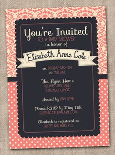 Coral Navy Blue and Cream Damask Baby Shower Invitation