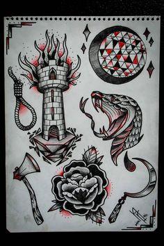 halloween flash sheet, ill post the tattoos later Traditional Tattoo Painting, Traditional Tattoo Sketches, Traditional Black Tattoo, Traditional Tattoo Old School, Traditional Tattoo Design, Chest Tattoo Sketches, Tattoo Design Drawings, Bird Drawings, Old Tattoos