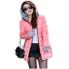 50.00$  Buy now - http://aliqm1.shopchina.info/go.php?t=32653283970 - Women's Hooded Cotton-Padded Jacket Winter Medium-Long Cotton Coat Plus Size Down Jacket Female Slim Ladies Jackets Coats  LD069 50.00$ #magazine