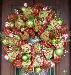 "30"" Deluxe Deco Mesh WHIMSICAL CHRISTMAS WREATH"