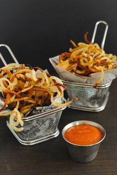 """verticalfood: """"Rosemary Curly Fries with Bloody Mary Ketchup """""""