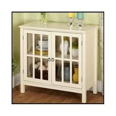 Wood-Storage-Cabinet-Antique-White-Furniture-Dining-Room-Cupboard-Buffet-Kitchen