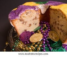 Mardi Gras Cream Cheese Pound Cake with Bourbon and Pecans -- perhaps I could sub alcohol for flavoring?