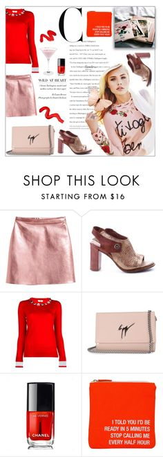 """""""Pink and Red"""" by beograd-love ❤ liked on Polyvore featuring Fendi, Giuseppe Zanotti, Chanel, About Face Designs and Topshop"""